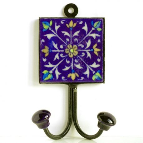 Porte manteaux blue pottery d coration indienne par for Decoration porte indienne
