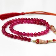 Adjustable Indian necklace red pearls