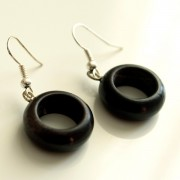 Indian wooden earrings round