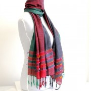 Indian shawl or scarf cotton red purple green