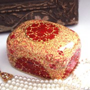 Box Indian paper mache Kashmir Red and white