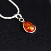 Silver and amber Indian pendant