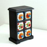 Indian box with 6 drawers ceramic Flowers