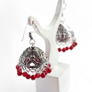 Jhumka Indian earrings large red