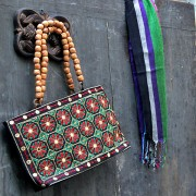 Indian ethnic handbag Andaz black and green