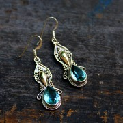 Silver and blue topaz Indian earrings