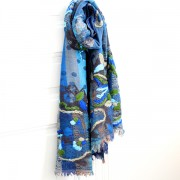 Indian ethnic 100% woolen stole blue