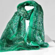 Indian silk scarf dark green