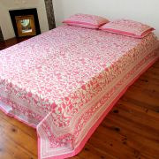 Indian bedsheet with pillow cases pink