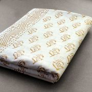 Indian printed tablecloth White and Gold