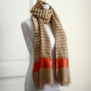 Indian Cashemere wool scarf beige and red