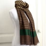 Indian Cashemere wool scarf brown and green