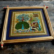 Handicraft Indian palm tree frame Peacock