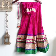 Indian skirt Benjara pink and green
