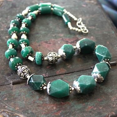 Fancy Indian necklace mala dark green