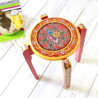 Indian painted wooden stool decorative red