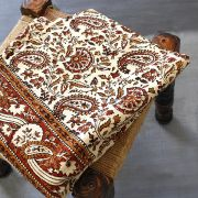 Indian printed bedsheet Sanganeri brown and beige