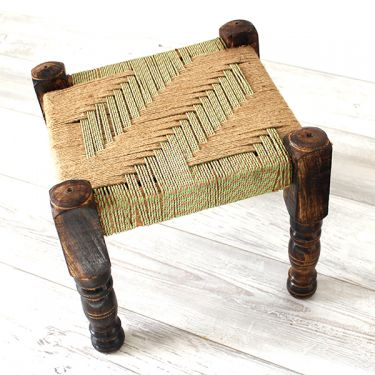 Indian natural bench wood and jute green and pink