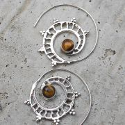 Silver and tiger stone Indian earrings