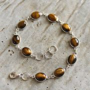 Silver and tiger stones Indian bracelet