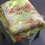 Indian handicraft bed cover Kantha red and yellow