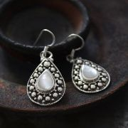 Indian silver and mother of pearl earrings