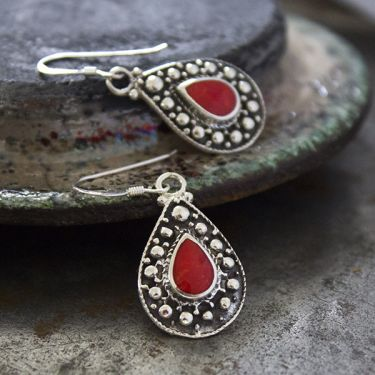 Indian silver and coral earrings