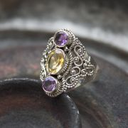 Indian silver and amethyst/citrine stones ring S10