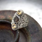 Indian silver and citrine/topaze stones ring Size choice