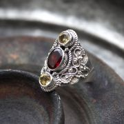 Indian silver and garnet/citrine stones ring Size choice