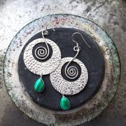 Indian silver and malachite stones earrings