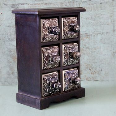 Indian box with 6 drawers ceramic black