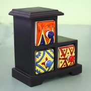 Indian box with 3 drawers ceramic yellow