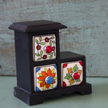 Indian box with 3 drawers ceramic flower