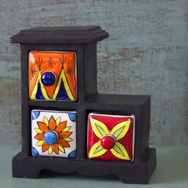 Indian box with 3 drawers ceramic colorful