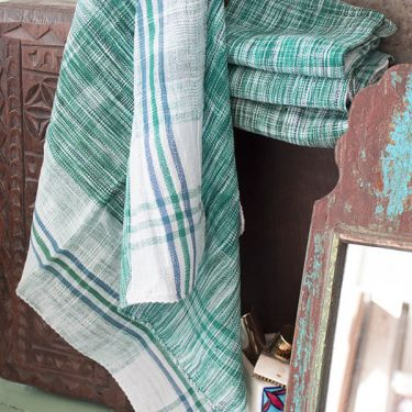 Indian kitchen towel or napkin green and white