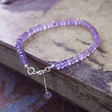 Silver and amethyst stones Indian bracelet