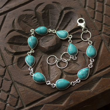 Silver and turquoise stones Indian bracelet