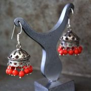 Indian handicraft earrings Jhumka antique orange