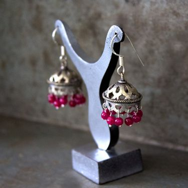 Indian handicraft earrings Jhumka antique red