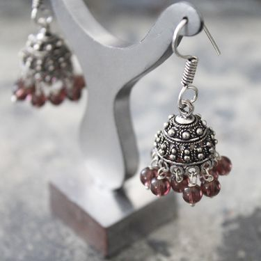 Indian handicraft earrings Jhumka small purple
