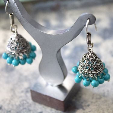 Jhumka Indian earrings small blue