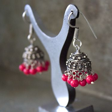 Jhumka Indian earrings small red