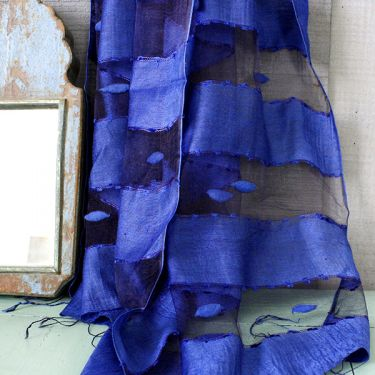 Indian veil scarf plain blue