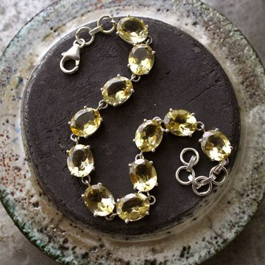 Indian silver and citrine stones bracelet