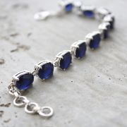 Indian silver and blue corundum stones bracelet