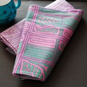 Indian cotton printed tablecloth pink and green