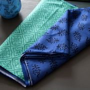 Indian cotton printed tablecloth blue and green