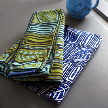 Indian cotton printed tablecloth blue