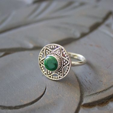 Indian silver and malachite stone ring S7.5